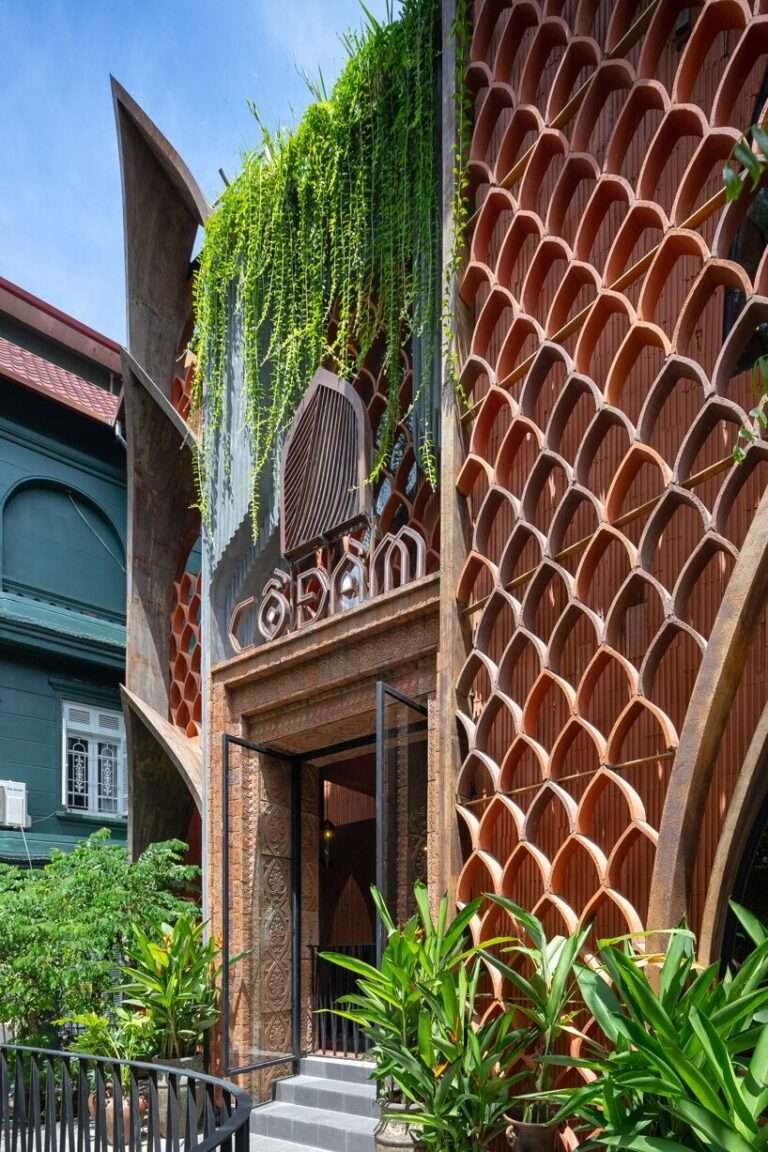 le house designs vegetarian restaurant in vietnam to resemble a champa red brick temple